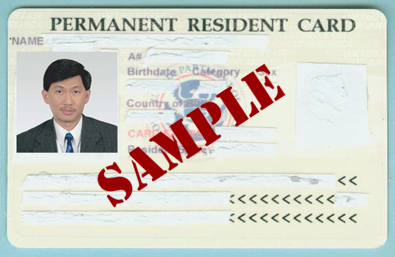 Example Greencard: Front